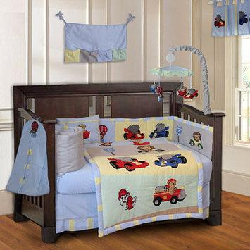 Babyfad Animal Zoom Boys Car Racing Baby 10 Piece Crib Bedding Set