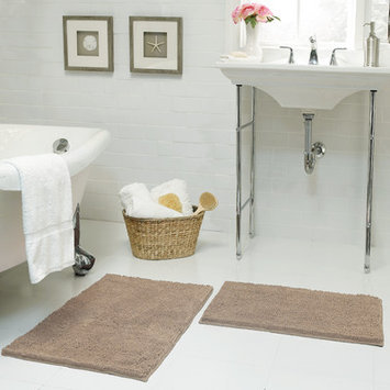 Resort Collection Chenille Plush 2 Piece Bath Mat Set, Linen