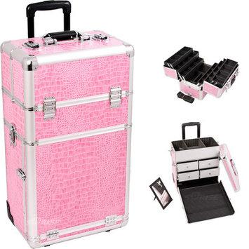 Just Case Sunrise I3462CRPK Pink Crocodile Trolley Makeup Case