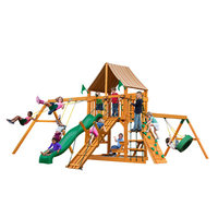 Gorilla Playsets Playground Equipment. Frontier with Amber Posts and Sunbrella Weston Ginger Canopy Cedar Playset