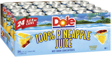 Dole 100% Juice 8.4 Oz Pull-Top Cans Pineapple  24 Pk Tray