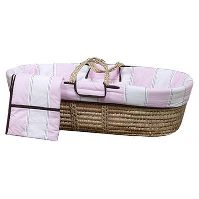 Bacati Metro Moses Basket in Pink and Chocolate