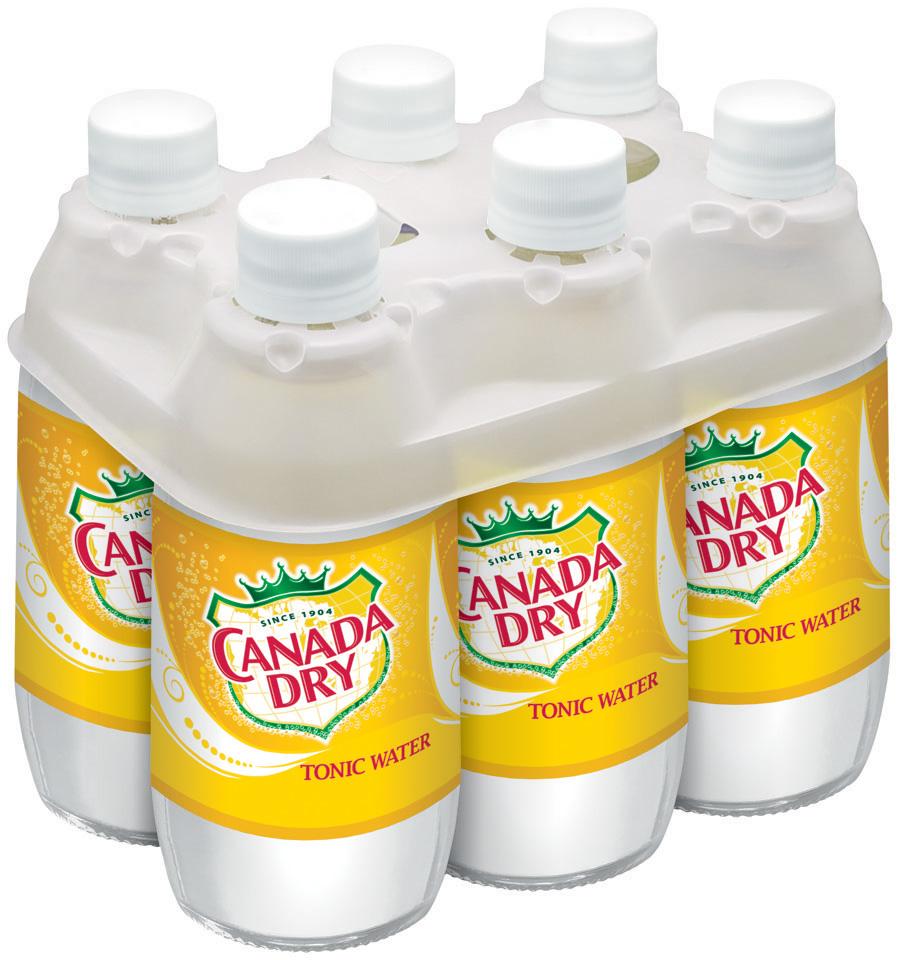 CANADA DRY 10 Oz Tonic Water 6 PK GLASS BOTTLES