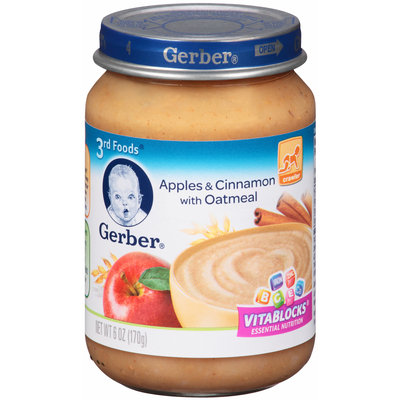 Gerber® Nature Select™ Apples & Cinnamon with Oatmeal Purees Cereal with Fruit 6 oz. Jar