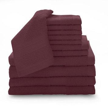 Luxury Home 12 Piece Super Plush Egyptian Cotton Towel Set, Cranberry
