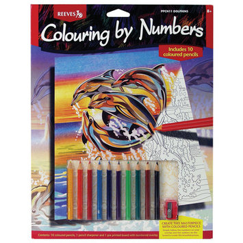 Reeves Colored Pencil By Numbers Intermediate Medium Dolphins Colored Pencil