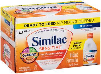 Similac Sensitive® For Fussiness & Gas with Iron Milk Based Powder Infant Formula 6-32 fl. oz. Bottles