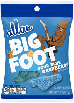 allan big foot sour blue raspberry gummy candy