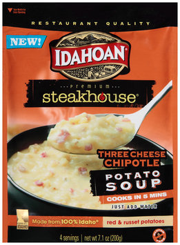 Idahoan® Premium Steakhouse® Three Cheese Chipotle Potato Soup 7.1 oz. Pouch