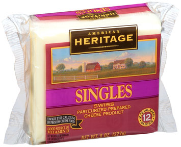 American Heritage® Pasteurized Prepared Cheese Product Swiss Cheese Singles 12-0.667 oz. Pack
