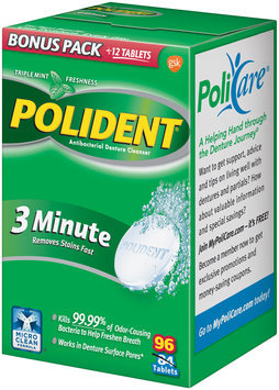 Polident® Triple Mint Freshness 3 Minute Antibacterial Denture Cleanser Tablets 96 ct Box