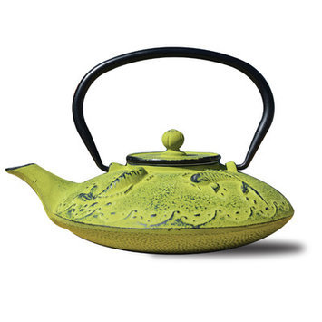Old Dutch 0.78 Qt Cast Iron Ogon Koi Teapot and Infuser in Moss Green