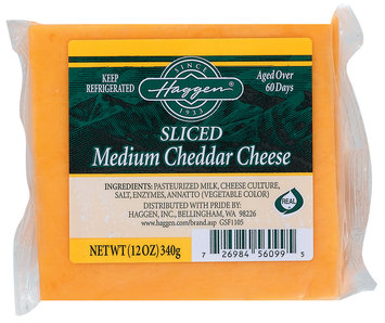 Haggen Medium Cheddar Sliced Cheese 12 Oz Wrapper