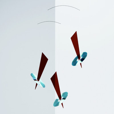 Flensted Mobiles Abstract Reflections Mobile in Red