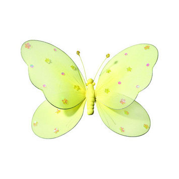 Heart To Heart Sequined Hanging Butterfly 3D Wall De cor, Extra Large, Yellow