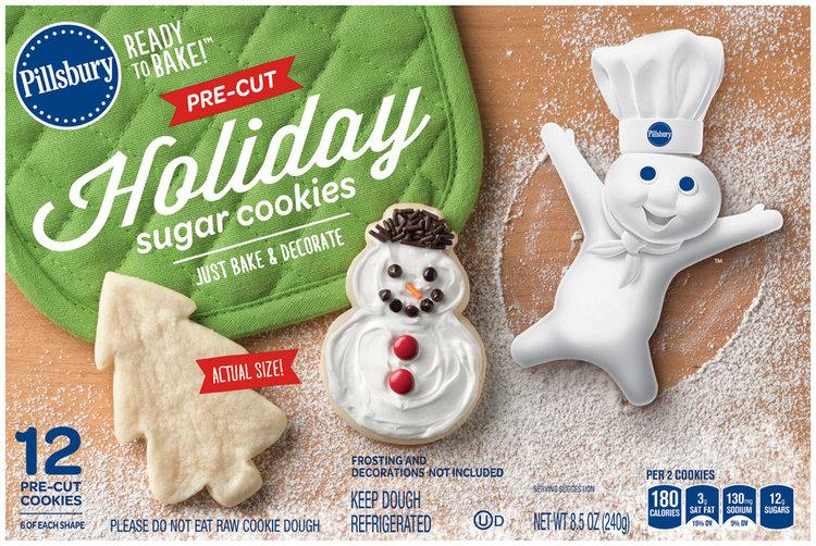 Pillsbury Ready To Bake Pre Cut Holiday Sugar Cookies 12 Ct Box