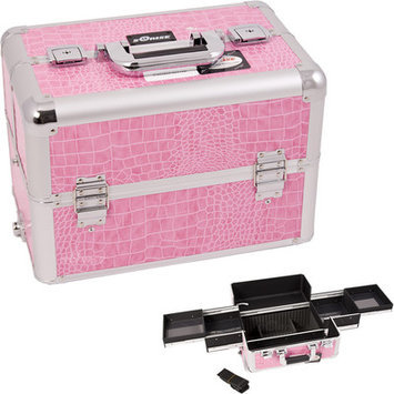 Sunrise E3301CRPK Pink Crocodile Pro Makeup Case
