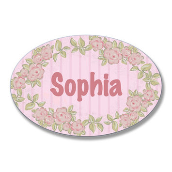 Stupell Industries Kids Room Personalization Floral Wall Plaque