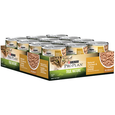 Purina Pro Plan True Nature Adult Natural Chicken & Turkey Entree Cat Food in Gravy 24-3 oz. Pull-Top Cans