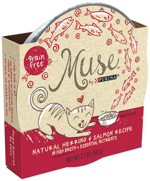 Muse by Purina Natural Herring & Salmon Recipe in Fish Broth Cat Food 2.1 oz. Tub