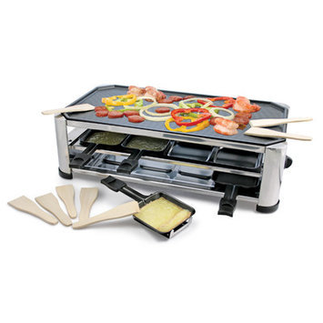 Swissmar 8 Person Stainless Steel Raclette Party Grill with Reversible Cast Aluminum Non-Stick Grill Plate
