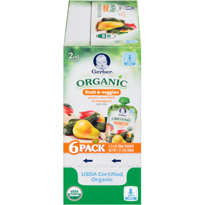Gerber® 2nd Foods® Pears, Zucchini & Mangoes Organic Fruit & Veggies Baby Food 6-3.5 oz. Pouches