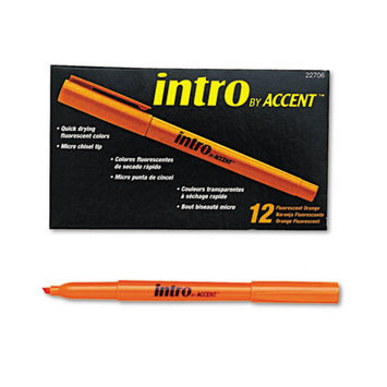 Paper-mate Paper Mate Intro Highlighters, Chisel Tip, Fluorescent Orange, 12/Pk