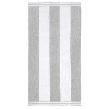 Wayfair Basics Superior Oversized Cotton Cabana Stripes Beach Towel Color: Light Gray