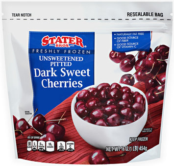 Stater Bros.® Freshly Frozen Unsweetened Pitted Dark Sweet Cherries 16 oz Bag