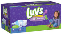 Luvs Zoo Babies Big Pack Size 4 Diapers 96 ct Bag