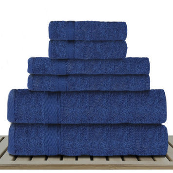 Linen Depot Direct Sandra Venditti-Bamboo 6 Piece Bath Towel Set, Navy Blue