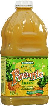Springfield® Unsweetened 100% Pineapple Juice 64 fl oz Plastic Bottle