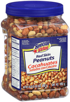 Special Value® Red Skin Peanuts 35 oz. Canister.