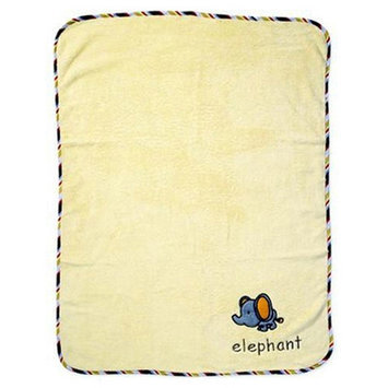 Bacati-ABC123 Soft Velour Blanket with Embroidery