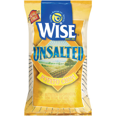 Wise Unsalted Potato Chips 9 Oz Bag