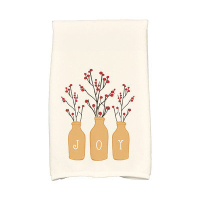 E By Design Holiday Wishes Joy Hand Towel Color: Gold