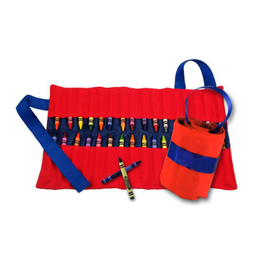 Princess Linens 160R Doodlebugz Red and Blue Crayon Keeper