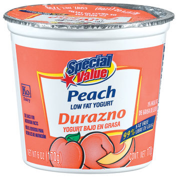 Special Value Peach Low Fat Yogurt 6 Oz Cup