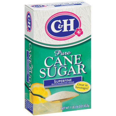 C&H Pure Cane Sugar Superfine Quick-Dissolving Sugar 1 lb Box