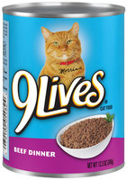 9 Lives® Beef Dinner Cat Food 12.3 oz. Can