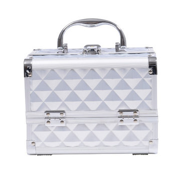 Soozier 3 Tier Diamond Texture Makeup Train Case Color: Silver