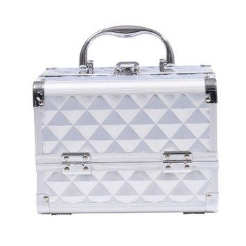 Soozier 3 Tier Diamond Texture Makeup Train Case Color: Silver