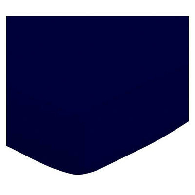 Stwd Solid Jersey Knit Crib Sheet Color: Navy