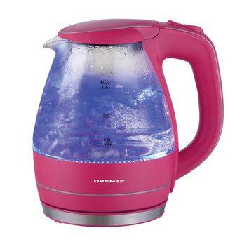 Ovente KG83F Pink 1.5-liter Glass Electric Kettle