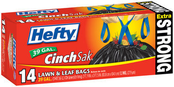 Hefty Extra Strong Lawn & Leaf Drawstring 39 Gallon Lawn & Leaf 14 CT BOX