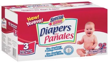 Special Value Medium Size 3 Diapers 92 Ct Box