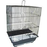 Yml Flat Top Medium Parakeet Cage with Food Access Door Color: Black