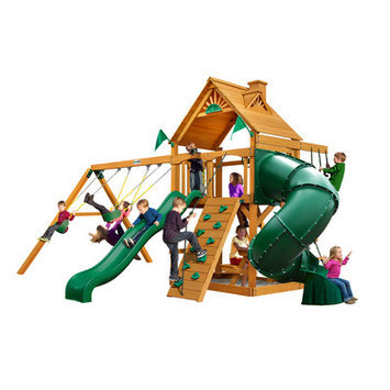 Gorilla Playsets Playground Equipment. Mountaineer with Amber Posts Cedar Playset