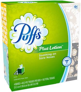 Plus Puffs Plus Lotion Facial Tissues, 4 Cubes, 48 Tissues per Cube