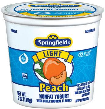 Springfield Light Peach Yogurt 6 Oz Cup